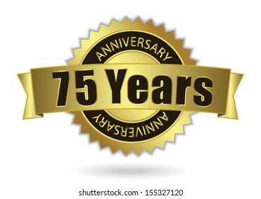 """75 Years Anniversary"" - Retro Golden Ribbon, EPS 10 vector illustration"