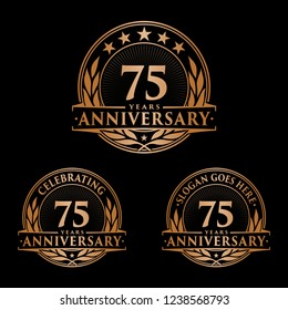 75 years anniversary set. 75th celebration logo collection. Vector and