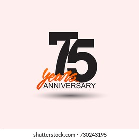 75 years anniversary simple design with negative style and yellow color isolated in white background