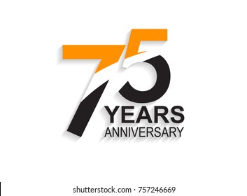 75 years anniversary simple design with white slash in orange and black number for celebration event