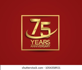 75 years anniversary with square and swoosh golden color isolated on red background for celebration
