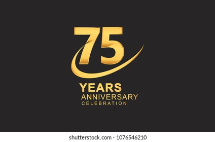 75 years anniversary with swoosh design golden color isolated on black background for celebration