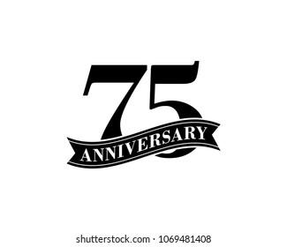 75 Years Anniversary Vector Logo Design Template. 75th Birthday Celebration.