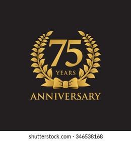75 years anniversary wreath ribbon logo black background