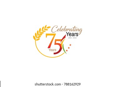 75 Years celebration with white Background vector illustration