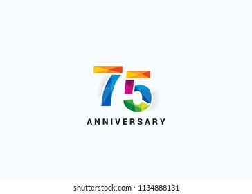 75 Years colorful Anniversary design with Low Poly style font number isolated on white background.