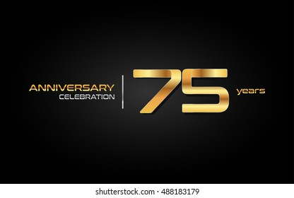 75 years gold anniversary celebration logo, isolated on dark background