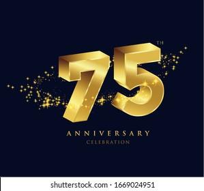 75 years golden 3D anniversary celebration logo vector.
