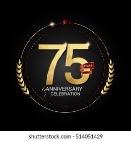 75 years golden anniversary logo with red ribbon, low poly design number, isolated on black background