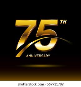 75 years golden anniversary logo celebration
