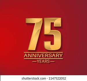 75 years golden shiny anniversary simple design with red background for company celebration event