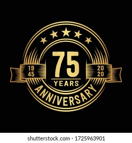 75 years logo design template. 75th anniversary vector and illustration.