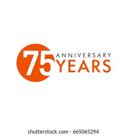 75 years old logo. Celebrating anniversary, congratulating vector numbers. Greetings of 75th idea. Colored traditional digital logotype of ages or % off.