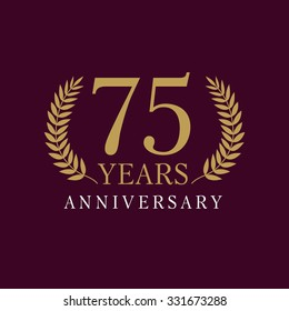 75 years old luxurious numbers. Congratulations 75th vector gold colored template sign framed of palms. Greetings sign, celebrates cup. Celebrating traditional branches seventy five. Isolated 7th.