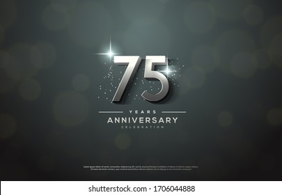 75th anniversary background number illustration with color effects and sparkling light behind.