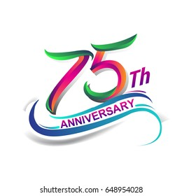 75th anniversary celebration logotype green and red colored. seventy five years birthday logo on white background.