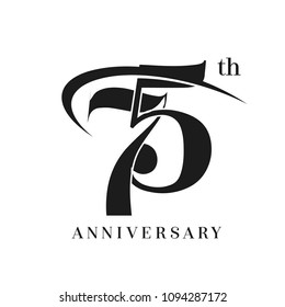 75th Anniversary Celebration simple monogram Design. pictogram vector icon, simple years birthday logo label, black and white stamp isolated