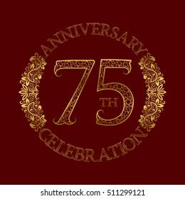 75th anniversary celebration vintage patterned logo symbol. Golden circular ornate emblem on red.