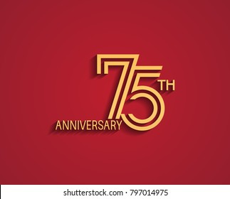 75th anniversary design logotype with line style golden color for celebration event isolated on red background