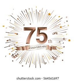 75th Anniversary greeting Card with Starburst. Vector illustration.