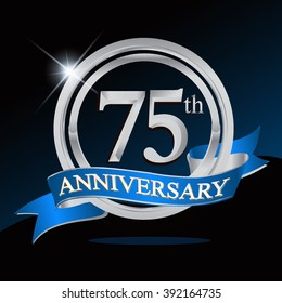 75th anniversary logo with blue ribbon and silver ring, vector template for birthday celebration.
