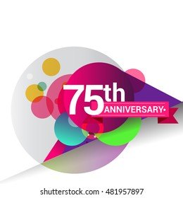 75th Anniversary logo, Colorful geometric background vector design template elements for your birthday celebration.