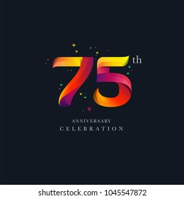 75th Anniversary Logo Design, Number or Digit 75 Icon Vector Template.