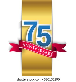 75th anniversary logo with gold label and red ribbon, Vector design template elements for your birthday party.