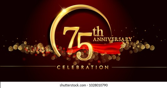 75th anniversary logo with golden ring, confetti and red ribbon isolated on elegant black background, sparkle, vector design for greeting card and invitation card