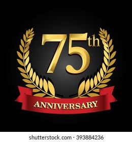 75th anniversary logo with red ribbon and golden laurel wreath, vector design for birthday celebration.