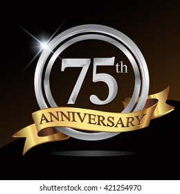 75th anniversary logo, with shiny silver ring and gold ribbon isolated on black background. vector design for birthday celebration.