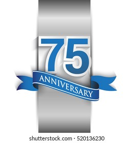 75th anniversary logo with silver label and blue ribbon, Vector design template elements for your birthday party.