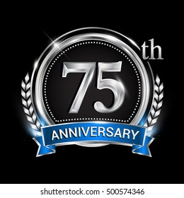 75th anniversary logo with silver ring combination blue ribbon. Vector template for birthday celebration, party, wedding, invitation and greeting card