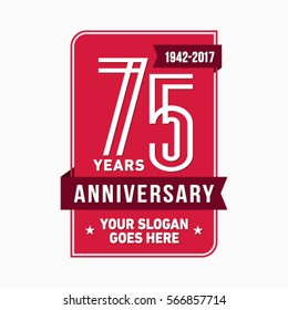 75th anniversary logo. Vector and illustration.