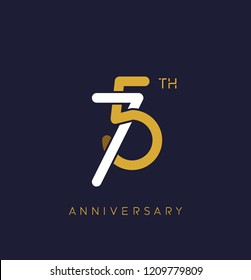 75th anniversary logo.overlapping number with simple monogram color. vector design for greeting card and invitation card.