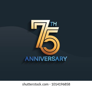 75th anniversary logotype with multiple line golden color isolated on dark blue background for celebration