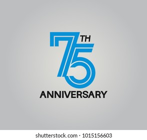 75th anniversary logotype with multiple line style blue color isolated on white background for celebration