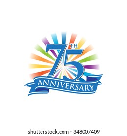 75th anniversary ribbon logo with colorful rays of light