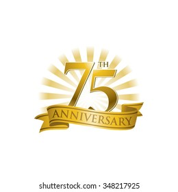 75th anniversary ribbon logo with golden rays of light