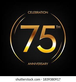 75th anniversary. Seventy-five years birthday celebration banner in bright golden color. Circular logo with elegant number design.