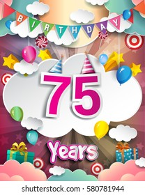 75th Birthday Celebration greeting card Design, with clouds and balloons. Vector elements for the celebration party of seventy five years anniversary