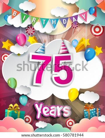75th Birthday Celebration Greeting Card Design With Clouds And Balloons Vector Elements For The