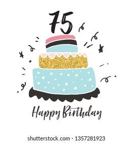75th birthday hand drawn cake birthday card