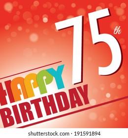 75th Birthday party invite/template design in bright and colourful retro style - Vector