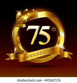 75th golden anniversary logo, 75 years anniversary celebration with ring and ribbon.