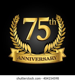 75th golden anniversary logo with ring and ribbon, laurel wreath vector design isolated on black background