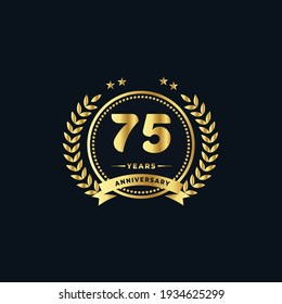 75th golden anniversary logo, with shiny ring and golden ribbon, laurel wreath isolated on navy blue background