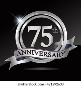 75th silver anniversary logo with ring and ribbon. Vector design template elements for your birthday celebration.