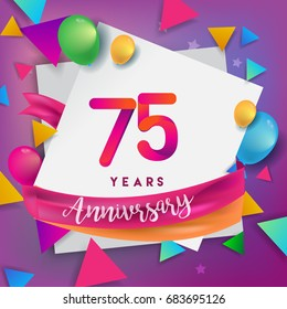 75th Years Anniversary Celebration Design Balloons And Ribbon Colorful Elements For Banner