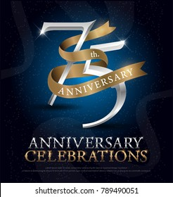 75th years anniversary celebration silver and gold logo with golden ribbon on dark blue background. vector illustrator